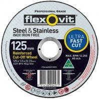 Flexovit Steel & Stainless Cut-Off Wheel 115 x 1.0 x 22.2mm A46T-BF41 MEGA INOX