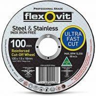 Flexovit Steel & Stainless Cut-Off Wheel 100 x 1.6 x 16mm