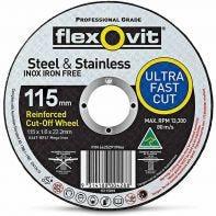 Flexovit Steel & Stainless Cut-Off Wheel 115 x 1.6 x 22.2mm