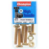 Champion 1/4x1.1/4 UNC Setscrews & Nuts B/Bx Gr5 ZP (Pack 5)