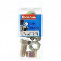 Champion 1/2x1.UNC Setscrews & Nuts Gr5 ZP (Pack 4)