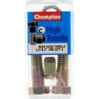 Champion 1/2x2 UNC Bolts & Nuts Gr5 ZP (Pack 2)