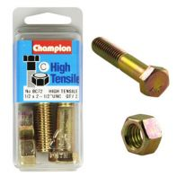 Champion 1/2x2.1/2 UNC Bolts & Nuts Gr5 ZP (Pack 2)