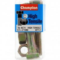 Champion 1/2x3UNC Bolts & Nuts Gr5 ZP (Pack 2)