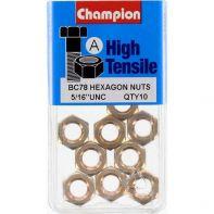 Champion 5/16 UNC Hex Nut Gr5 ZP (Pack 10)