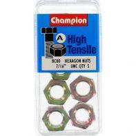 Champion 7/16 UNC Hex Nut Gr5 ZP (Pack 5)