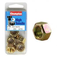 Champion 1/2 UNC Hex Nut Gr5 ZP (Pack 5)