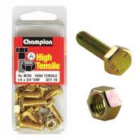 Champion 1/4x1/2 UNF Setscrews & Nuts Gr5 ZP (Pack 10)