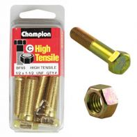 Champion 1/2x1.1/2 UNC Bolts & Nuts Gr5 ZP (Pack 4)