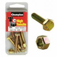 Champion 1/4x1.1/2 UNF Setscrews & Nuts Gr5 ZP (Pack 5)