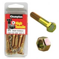 Champion 1/4x1.1 2 UNC Bolts & Nuts Gr5 ZP (Pack 5)