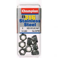 """Champion CSP88 - 1/4"""" UNC Self-Locking Nuts 316/A4 Stainless Steel"""