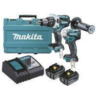 Makita 18V 2 Piece Li-Ion Kit (DHP481Z, DTw285Z, 2 X BL1850B, DC18RC & Case)