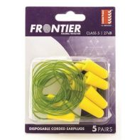 Beaver Frontier Foam Ear Plugs Corded Disposable (Pack 5)
