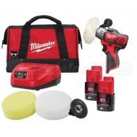 Milwaukee M12 Spot Polisher/Detail Sander with 2 x 2.0AH Red Lithium Battery, Charger, 5pc Pad Kit & Carry Bag