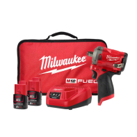 "Milwaukee NEW M12 FUEL Stubby 1/2"" Impact Wrench - 2 x 2.0Ah Batteries, Charger, Contractor Bag"