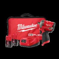 "Milwaukee M12FIWF12-202B 12V Cordless FUEL Stubby 1/2"" Impact Wrench 2.0Ah Kit"
