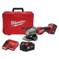 Milwaukee M18 Fuel Angle Grinder 125mm with Deadman Paddle Switch with 2 x 5.0AH Red Lithium Batteries, Charger & Hard Case