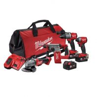 Milwaukee M18 FUEL 4 Piece Power Pack(FPD2, FID2, CAG125XPD, CH) 5Ah Kit