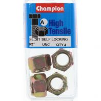 Champion 1/2 UNC Nyloc Nut ZP (Pack 4)