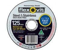 Flexovit Steel & Stainless Cut-Off Wheel 100 x 1.0 x 16mm A46T-BF41 MEGA INOX