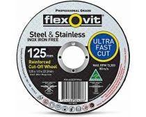 Flexovit Steel & Stainless Cut-Off Wheel 125 x 1.0 x 22.2mm A46T-BF41 MEGA INOX