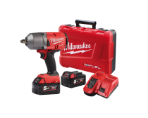 """Milwaukee  M18 FUEL HighTorque Wrench 1/2"""" Friction Ring, with Red Lithium Batteries, Charger & Hard Case 5.0Ah RED LITHIUM Kit"""